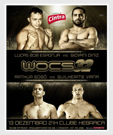 Pôster do WOCS 32 destaca disputas de cinturão. Foto: Divulgação