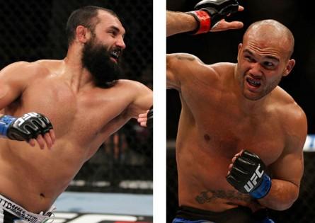 Hendricks (esquerda) enfrentará Lawler (direita) pelo cinturão dos meio-médios. Foto: Produção MMA Press (UFC/Divulgação)