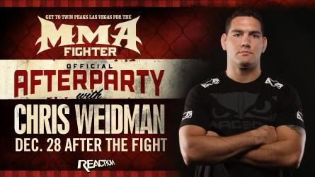 Anúncio da festa pós-UFC 168 com a presença de C. Weidman. Foto: Reprodução/Twitter