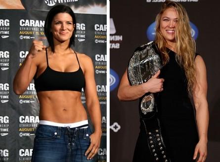 Especulação sobre luta entre G. Carano (esq.) e R. Rousey (dir.) tomou conta do mundo do MMA. Foto: Produção MMA Press (Strikeforce/UFC)