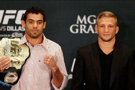 Barão (esq.) e Dillashaw (dir.) fazem a luta principal do UFC 173. Foto: Josh Hedges/UFC