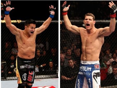 C. Le (esq.) e M. Bisping (dir.) fazem a luta principal em Macau. Foto: Produção Super Lutas (Divulgação/UFC)