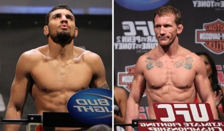 F. Morango (esq.) e G. Maynard (dir.) fazem duelo de desesperados em agosto. Foto: Produção Super Lutas (Divulgação/UFC)