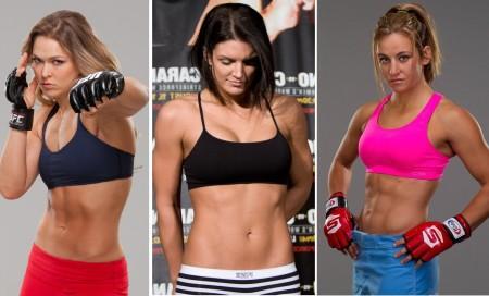 Rousey (esq.), Carano (centro) e Tate (dir.) estão entre as celebridades mais sexy. Foto: Produção Super Lutas (Divulgação)