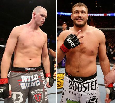 Struve (esq.) e Mitrione (dir.) se enfrentam no UFC 175. Foto: Produção Super Lutas (Divulgação/UFC)