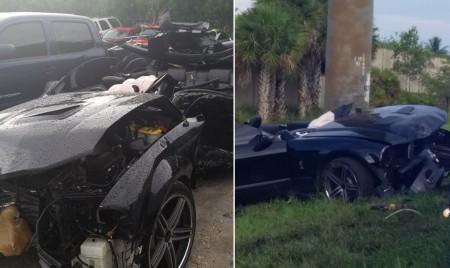 Imagens do carro após acidente foram divulgadas pelo próprio Guillard. Foto: Reprodução/Instagram