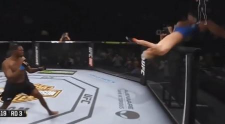 Gustafsson voa sobre a grade do octógono em erro do novo EA Sports UFC. Foto: Reprodução/YouTube