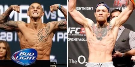 Poirier (esq.) e McGregor (dir.) se enfrentarão em setembro. Foto: Divulgação/UFC
