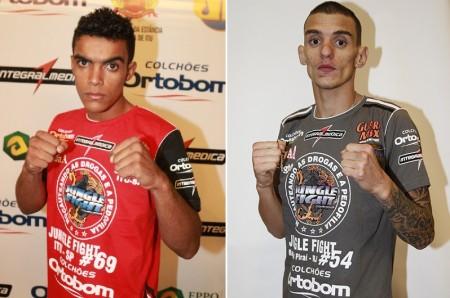 Marreta (esq.) e Moicano (dir.) se enfrentarão no dia 19 de julho. Foto: Divulgação/Jungle Fight