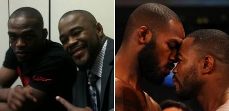 Jones e Evans: de amigos a rivais no UFC. Foto: Produção MMA Press