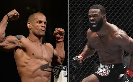 Lombard (esq.) e Woodley (dir.) podem se enfrentar no futuro. Foto: Produção SUPER LUTAS (Divulgação/UFC)