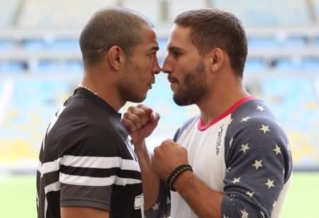 Aldo e Mendes em encara tensa durante evento promocional do UFC 179. Foto: Reprodução/YouTube