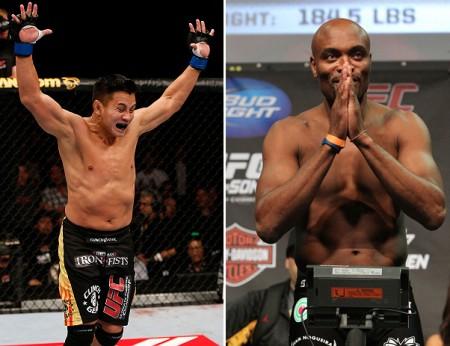 Le (esq.) sonha com luta contra Anderson (dir.). Foto: Produção SUPER LUTAS (UFC/Divulgação)