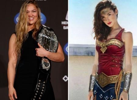 Ronda (esq.) não poupou críticas à atriz Gal Gadot (dir.). Foto: Produção SUPER LUTAS (UFC/Divulgação)