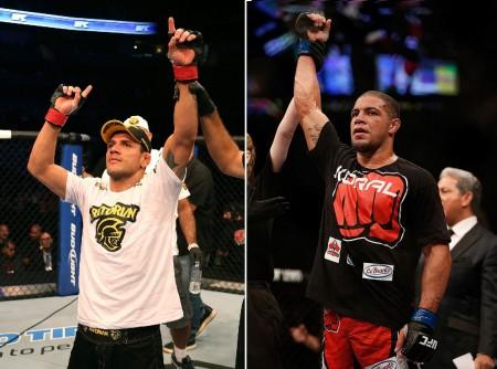 R. dos Anjos (esq.) e T. Leites (dir.) faturaram dois dos bônus do UFC FN  49. Foto: Produção Super Lutas (UFC/Divulgação)