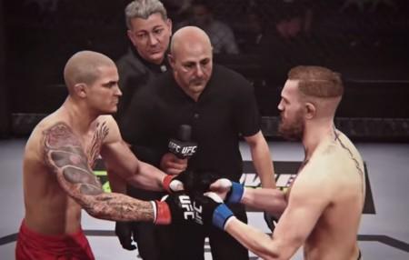 Modelos digitais de Poirier (esq.) e McGregor (dir.) se encaram no EA Sports UFC. Foto: Reprodução