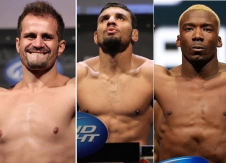 Maldonado (esq.), Morango (centro) e Patolino (dir.) compõem o card do UFC 179. Foto: Produção Super Lutas (Josh Hedges/UFC)