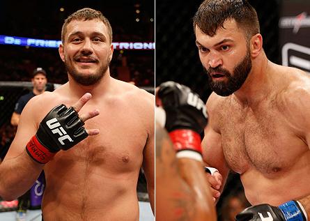 Mitrione (esq.) sonha em enfrentar Arlovski (dir.) a seguir. Foto: Produção SUPER LUTAS (Divulgação/UFC)