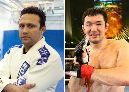 Renzo (esq.) e Sakuraba (dir.) farão luta de submission em novembro. Foto: Produção SUPER LUTAS/Divulgação