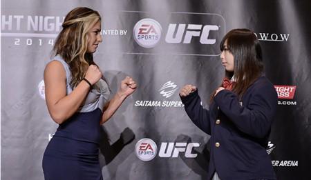 Tate (esq.) e Nakai (dir.) se enfrentarão no Japão. Foto: Keith Tsuji/Zuffa LLC)