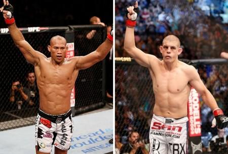 R. Jacaré (esq.) e J. Lauzon (dir.) levaram US$ 50 mil cada. Foto: Produção SUPER LUTAS (Josh Hedges/UFC)