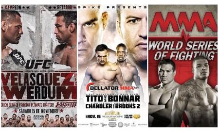 Trio UFC, Bellator e WSOF promoverá eventos simultâneos em novembro. Foto: Produção SUPER LUTAS (Divulgação)