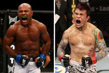 W. Reis (esq.) e S. Jorgensen (dir.) se enfrentam no dia 25 de outubro. Foto: Produção SUPER LUTAS (Josh Hedges/UFC)