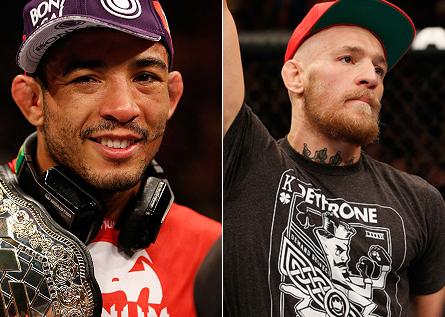 Aldo (esq.) minimizou ascensão de McGregor (dir.). Foto: Produção MMA Press (Divulgação/UFC)