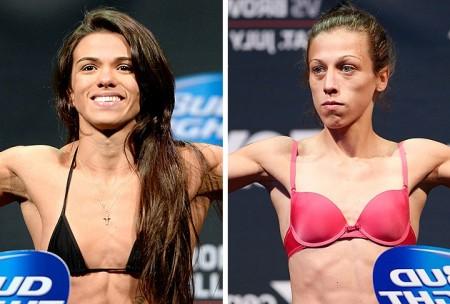 Gadelha (esq.) e Jedrzejczyk  (dir.) se enfrentam pela categoria peso palha. Foto: Produção Super Lutas (Josh Hedges/UFC)
