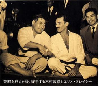 Kimura (esq.) e Hélio (dir.)  antes da grande luta. Foto: Reprodução