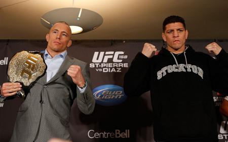 N. Diaz (dir.) é um velho conhecido de GSP (esq.). Foto: Josh Hedges/UFC