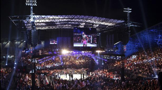 Chegada do UFC ao Oriente Médio contou com montagem de uma estrutura especial montada só para o evento. Foto: Reprodução