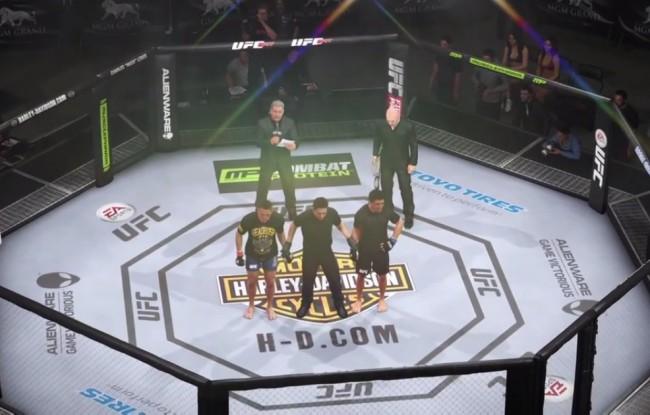 """Pettis e Melendez aguardam decisão do juíz em simulação no """"EA Sports UFC"""". Foto: Reprodução"""