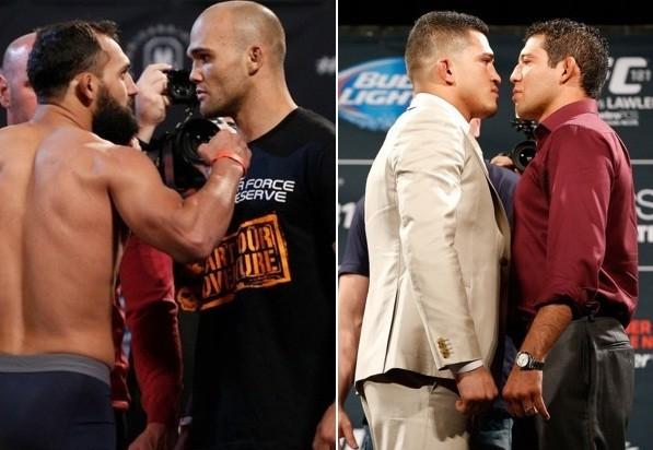 Hendricks x Lawler (esq.) e Pettis x Melendez (dir.) são as lutas principais do UFC 181. Foto: Produção Super Lutas (Divulgação)