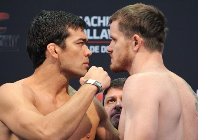 Lyoto (esq.) e Dollaway (dir.) bateram o peso e confirmaram luta em Barueri. Foto: Lucas Carrano/SUPER LUTAS