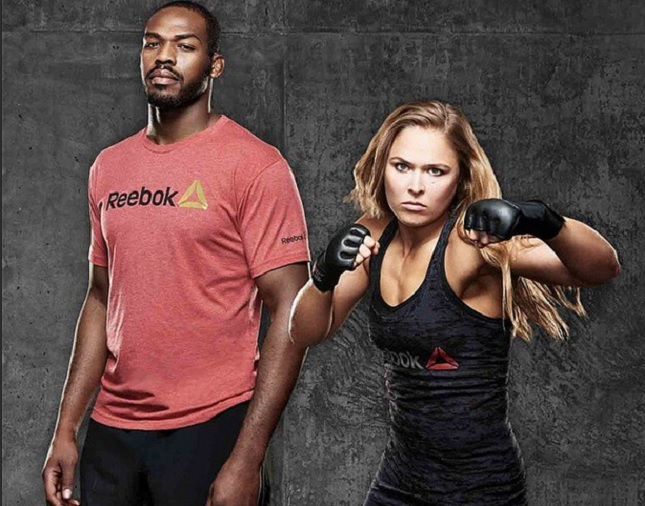 J. Jones (esq.) e R. Rousey (dir.) são os novos garotos-propaganda da Reebok no MMA. Foto: Reprodução/Instagram