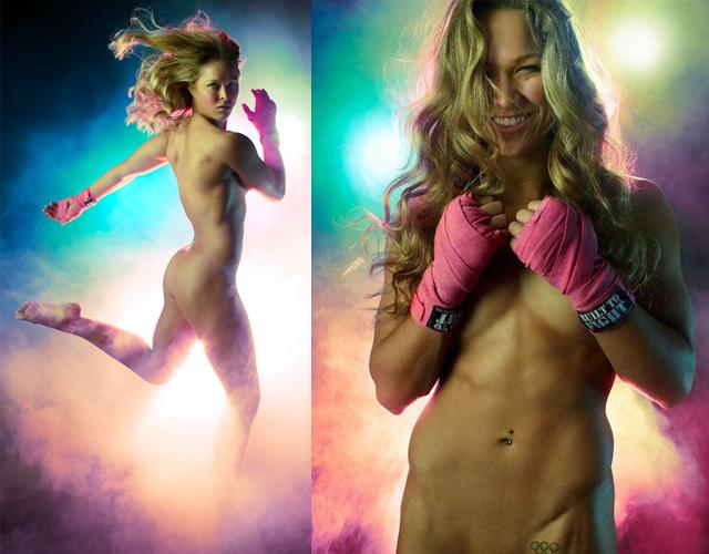 Em 2012, Ronda Rousey fez um ensaio totalmente nu para a revista ESPN, nos EUA