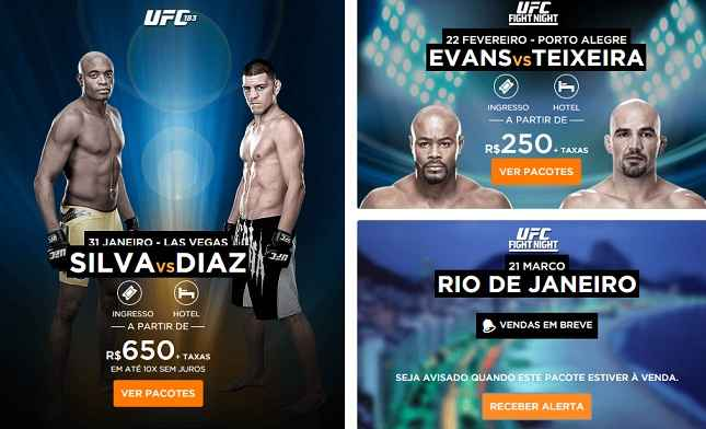 """Site parceiro do UFC anuncia """"UFC Fight Night Rio"""" em sua página. Foto: Reprodução"""