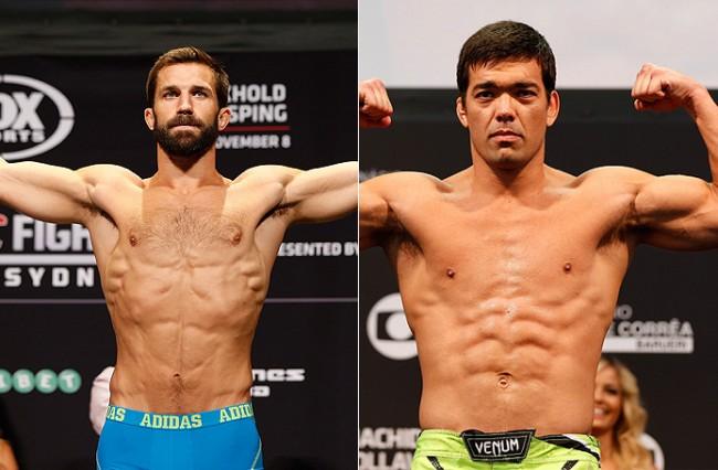 Rockhold (esq.) e Machida (dir.) se enfrentam no UFC on FOX 15. Foto: Produção MMA Press (Divulgação/UFC)