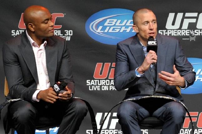 A. Silva (esq.) e GSP (dir.) foram campeões do UFC Foto: Josh Hedges/UFC