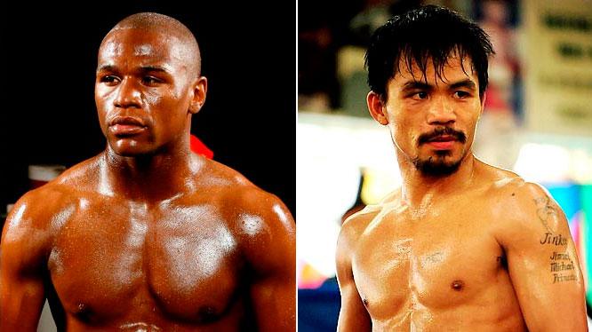 Floyd Mayweather (esq.) e Manny Pacquiao (dir.) fazem uma das lutas mais esperadas da história do boxe. Foto: Reprodução