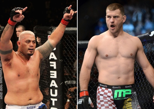 M. Hunt (esq.) e S. Miocic (dir.) fazem luta principal do UFC FN 65. Foto: Produção SUPER LUTAS (Josh Hedges/UFC)