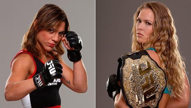 Rousey (esq.) e Correia (dir.) podem se enfrentar no Rio de Janeiro. Foto: Produção Super Lutas (Divulgação/UFC)