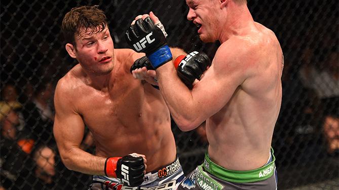 Bisping (esq.) e Dollaway (dir.) se enfrentaram no UFC 186. Foto: Divulgação/UFC