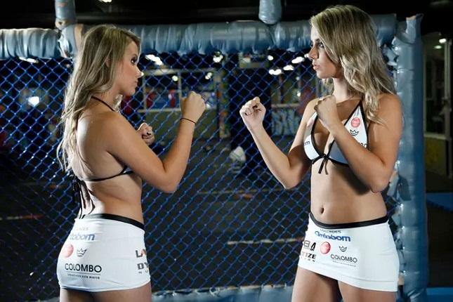 Gêmeas Andressa e Amanda vão estrear como ring girls no Jungle. Foto: Divulgação