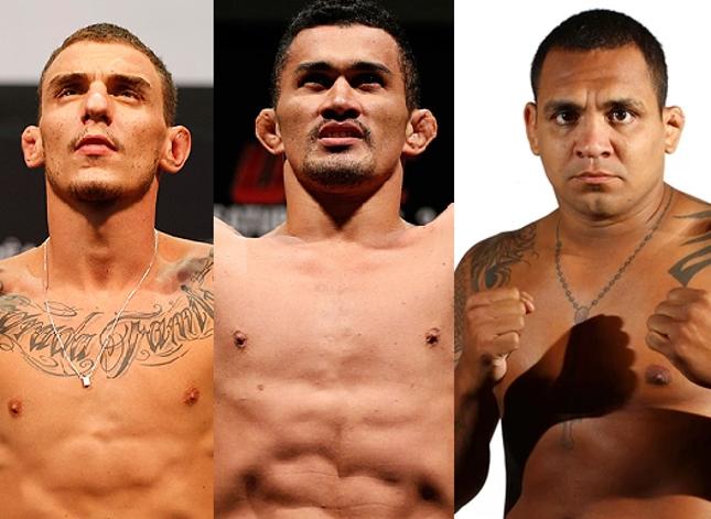 Moicano (esq.), Bodão (centro) e Besouro (dir.): trio estará em Goiânia. Foto: Produção SUPER LUTAS (UFC/Divulgação)