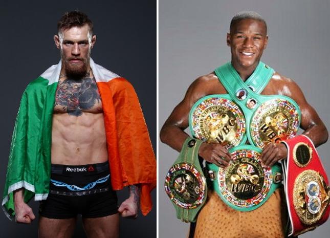 C. McGregor (esq.) e Mayweather (dir.) fariam luta bilionária. Foto: Produção SUPER LUTAS (Divulgação)