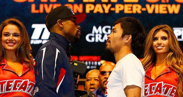 Floyd Mayweather (esq.) e Manny Pacquiao (dir.) fazem a luta do século neste sábado