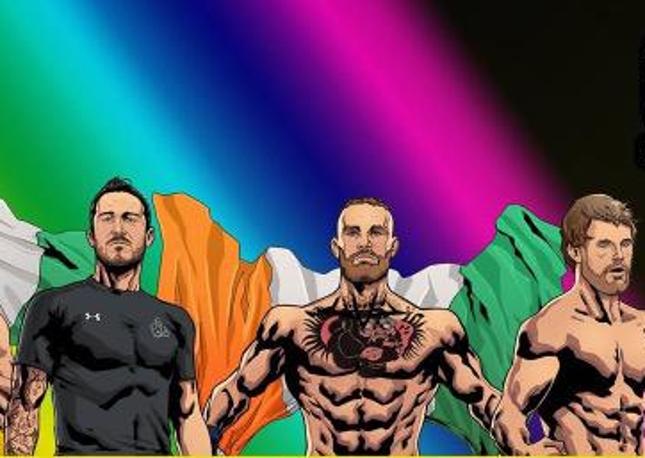 McGregor (centro) apareceu ao lado do treinador J. Kavanagh e dos colegas da SBG Ireland em apoio à legalização do casamento de pessoas do mesmo sexo. Foto: Reprodução
