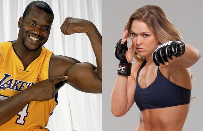 Shaq (esq.) e Ronda (dir.): ex-astro da NBA disse que enfrentaria a campeã. Foto: Produção Super Lutas (Divulgação/UFC)